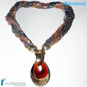 Collana Conteria Goccia Oro Rotto in vetro di Murano - COLL0037