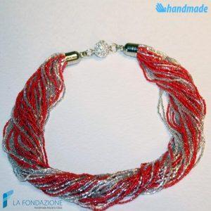 Torchon necklace 48 strands Polished with silver -  La Fondazione snc - COLL0092