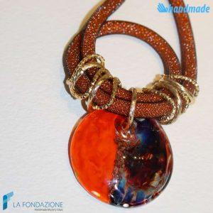 Collana Rete Disco Calcedonio in vetro di Murano - COLL0096