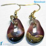Orecchini Sparkling Gold in vetro di Murano color Ametista -EARRINGSC0005