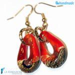 Orecchini Sparkling Gold in vetro di Murano color Rosso -EARRINGSC0005