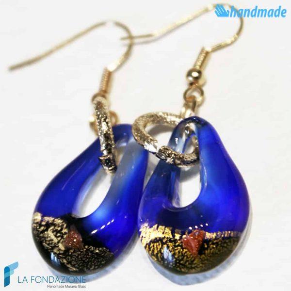 Orecchini Sparkling Gold in vetro di Murano color Blu -EARRINGSC0005