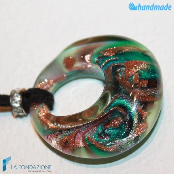 Pendente Foro Pavone Terra in vetro di Murano - PEND0050