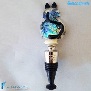 Tappo da bottiglia Gatto Dicroico base avorio in vetro di Murano - CAPS00015