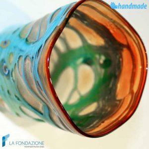Goto Arancione Reticello Azzurro in vetro di Murano - GOTI0008
