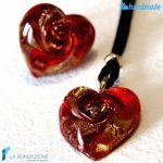 Parure Cuore Gemma con anello e pendente in vetro di Murano – PARU0017