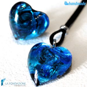 Parure Heart Gem with ring and pendant made in Murano Glass - PARU0017