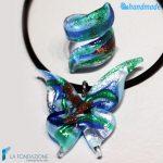 Parure Farfalla con pendente e anello in vetro di Murano - PARU0030