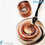 Parure Vertigo con anello e pendente in vetro di Murano -PARU0031