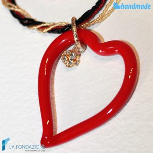Parure Heart Conteria Point Light with earrings and necklace made in Murano Glass -PARU0036