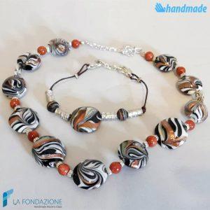 Parure Fenicio Moko con bracciale e collana in vetro di Murano - PARU0037
