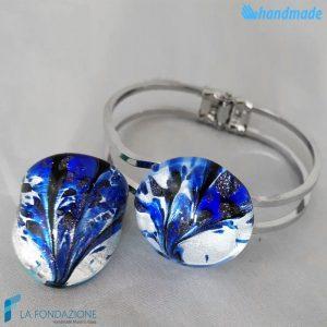 Parure Pavone Asso con anello e bracciale rigido in vetro di Murano - PARU0043