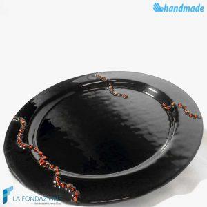 Piatto Nero con murrina rossa in vetro di Murano - SCUL009