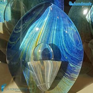 Uovo Blu Calcedonio in vetro di Murano - SCUL012