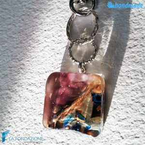 Portachiavi Calcedonio Acquario Ametista in vetro di Murano - KEY008