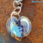 Portachiavi Calcedonio Cuore Azzurro in vetro di Murano - KEY011