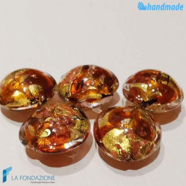 Perle Schisse Onda Ambra in vetro di Murano - PERLA004