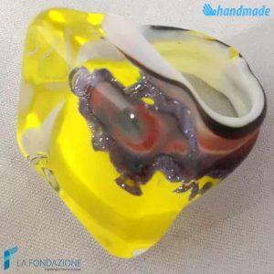 Anello Cubo Calcedonio Limone in vetro di Murano - RINGS0075