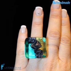 Three Vortex Cube Aquamarine Ring made in Murano glass - RINGS0078