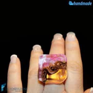 Three Vortex Cube Pink made in Murano glass - RINGS0079