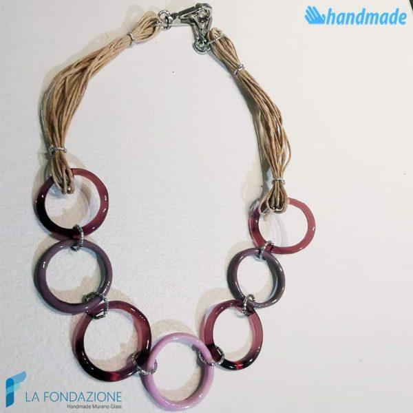 Collana Eco Cerchi in vetro di Murano - COLL0097
