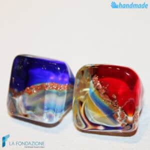 Pair of Blue and Red Chalcedony Cube Band Ring – Handmade Murano glass band ring with aventurine made in Venice Italy - RINGS0099
