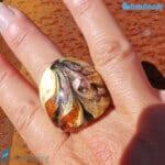 Pavone - Anello fedina a fascia in vetro di Murano - RINGS0102