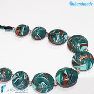 Phoenician Emerald Necklace made in Murano glass - COLL0099