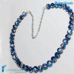 Collana perle maculé blu in vetro di Murano - COLL0102