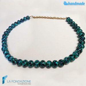 Collana perle maculé verde acqua in vetro di Murano - COLL0103