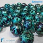 Collana perle maculé verde acqua  in vetro di Murano – COLL0103