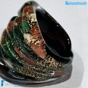 Anello Arlecchino Foresta in vetro di Murano fatto a mano - RINGS0094