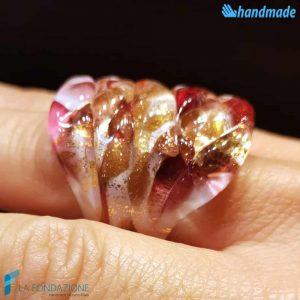 Anello Arlecchino Amarena in vetro di Murano fatto a mano - RINGS0107
