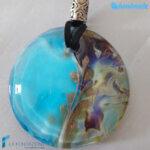 Pendente Disco Calcedonio colore acquamare – La Fondazione – PEND0067