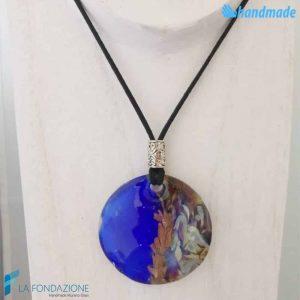 Pendente Disco Calcedonio Blu elettrico - La Fondazione - PEND0068
