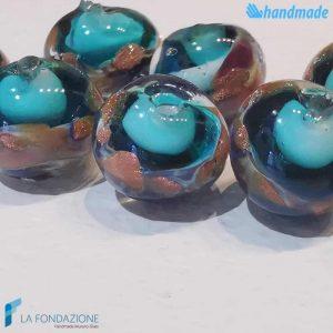 Set 8 Perle Calcedonio 12 mm Verde Acqua - La Fondazione snc - PERLA029