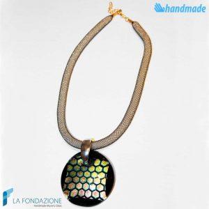 Dichroic Disc Necklace handmade in Murano glass - La Fondazione snc - COLL0066