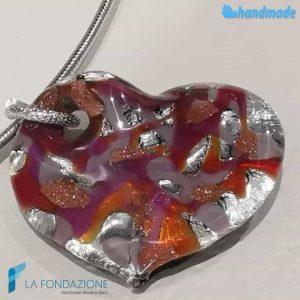 Heart Wave Rhodium Necklace handmade in Murano glass -  La Fondazione snc - COLL0105