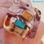 Anello Cubo Dicroico Maxi in vetro di Murano – La Fondazione snc – RINGS0135