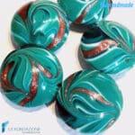 Perle Fenicio Smeraldo con avventurina in vetro di Murano – La Fondazione snc – PERLA037